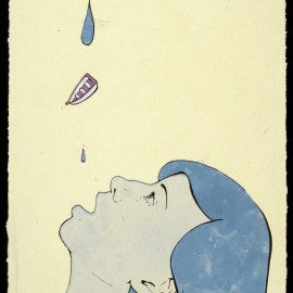 """Drip, handmade paper, pulp painting, acrylic paint, and serigraphy, 17 x 11"""" 2011"""