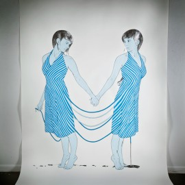 "Apart, mixed media & silver leaf on paper, 100 x 70"" 2012"