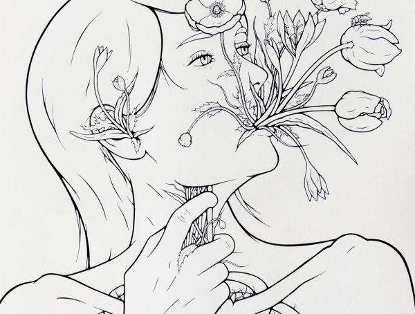 Choke (detail), pen & ink on paper, 36 by 26″, 2017