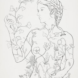 Vanitas I (Eve), pen & ink on paper, 2015