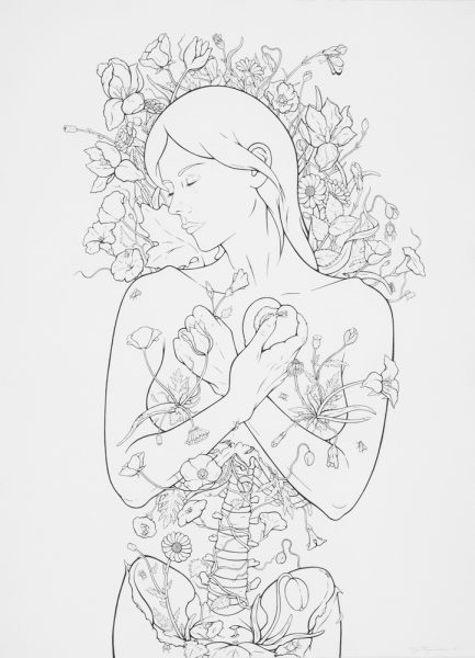 Vanitas III (The Big Sleep), pen & ink on paper, 2015