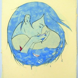 "Sip, handmade paper, pulp painting, serigraphy and gouache, 24 x 18"" 2011"