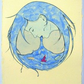 """Spew, handmade paper, pulp painting, serigraphy and gouache, 24 x 18"""" 2011"""