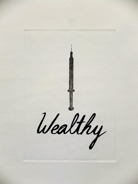 """Wealthy, etching, 6 by 4"""", 2014"""