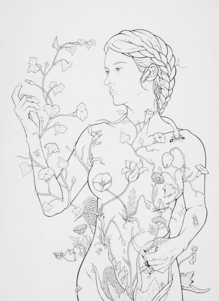 "Vanitas I (Eve), pen & ink on paper, 36 by 26"", 2015"