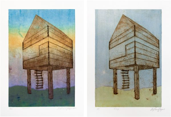 Student Level: Undergraduate (Intro Level),  Course: Special Topics in 2D- Printmaking Processes, Assignment: Final Project- Mixing Mediums  (Etching & Monoprint, variations 3 & 4 of 5)